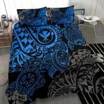 Polynesian Hawaii (kanaka Maoli) Bedding Set - Blue Hibiscus Turtle Flowing - Bn11