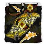 Tuvalu Bedding Set Plumeria - Polynesian Manta Ray Yellow A18