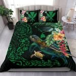 Hawaii Tiki Polynesian Bedding Set - Turtle Mix Hibiscus Green K4
