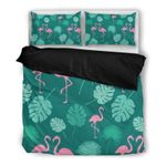 Hawaii Flamingo Bedding Set, Palm Leaf Duvet Cover And Pillow Case