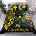 Hawaii Tiki Polynesian Bedding Set - Turtle Mix Hibiscus Yellow K4