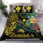 Hawaii Tiki Polynesian Bedding Set - Turtle Mix Hibiscus Yellow K4