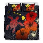 Hawaiian Hibiscus Turtle Polynesian Bedding Set - Maps Style Red A10