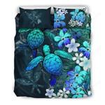 Kanaka Maoli (hawaiian) Bedding Set - Sea Turtle Tropical Hibiscus And Plumeria Blue A24