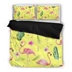 Hawaii Flamingo Bedding Set, Hibiscus Palm Leaf Duvet Cover And Pillow Case