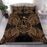 Polynesian Bedding Set - French Polynesia Duvet Cover Set Map Gold - Bn39
