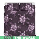 Hawaii Turtle Bedding Set, Honu Plumeria Duvet Cover And Pillow Case H1