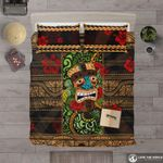 Hawaii Bedding Set, Tiki Head Hibiscus Duvet Cover And Pillow Case A0