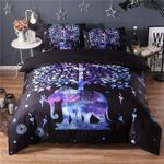 Boho Purple Night Tree Duvet Cover Set Cute Elephant Bedding Set Queen Size Soft Bedclothes Kids Cartoon 3pcs