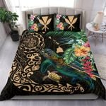 Hawaii Tiki Polynesian Bedding Set - Turtle Mix Hibiscus Gold K4