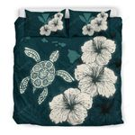 Hawaiian Hibiscus Turtle Polynesian Bedding Set - Maps Style Green A10