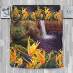 Hawaii Bedding Set, Strelitzia Rainbow Fall Duvet Cover And Pillow Case J8