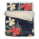 Hawaii Bedding Set, Hibiscus Palm Leaf Duvet Cover And Pillow Case G1