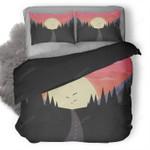 Sun Birds Trees Mountains Duvet Cover Bedding Set