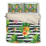 Hawaii Pineapple Bedding Set, Tropical Duvet Cover And Pillow Case W8