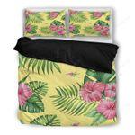 Palm Leaf Duvet Cover, Hibiscus Hawaii Bedding Set A9