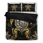 Hawaii Bedding Set, Tribal Turtle Tiki Sun God Duvet Cover And Pillow Case H4