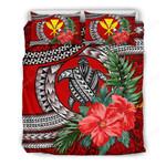 Kanaka Maoli (hawaiian) Bedding Set - Polynesian Turtle Hibiscus Red A24