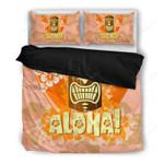 Hawaii Hibiscus Bedding Set, Tiki Head Aloha Duvet Cover And Pillow Case Th1