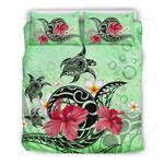 Hawaii Turtle Bedding Set, Hibiscus Plumeria Duvet Cover And Pillow Case J1