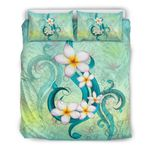 Hawaii Bedding Set, Plumeria Duvet Cover And Pillow Case J1