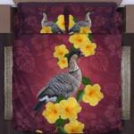 Hawaii Bedding Set, Hibiscus Nene Bird Duvet Cover And Pillow Case A0