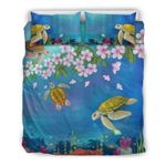 Hawaii Turtle Bedding Set, Plumeria Duvet Cover And Pillow Case H1