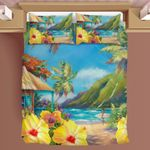 Hawaii Tropical Bedding Set, Island Duvet Cover And Pillow Case J8
