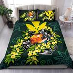 Polynesian Bedding Set - Hawaii Duvet Cover Set - Ti Leaf Lei Turtle - Bn11