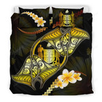 Fiji Bedding Set Plumeria - Polynesian Manta Ray Yellow A18