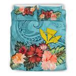 Kanaka Maoli Bedding Set Hawaii Hibiscus Polynesian Wave Duvet Cover Th5