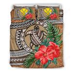Kanaka Maoli (hawaiian) Bedding Set - Polynesian Turtle Hibiscus Orange A24