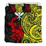 Hawaii Bedding Set, Polynesian Patterns With Hibiscus Flowers Duvet Cover Bn15