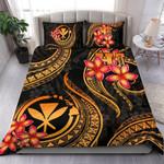 Polynesian Hawaii Bedding Set - Kanaka Maoli Duvet Cover Set - Gold Plumeria - Bn11