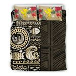 Hawaii Bedding Set - Gold Polynesian Hibiscus Tribal Style A24