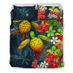 Kanaka Maoli (hawaiian) Bedding Set - Sea Turtle Tropical Hibiscus And Plumeria Reggae A24