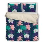 Hawaii Bedding Set, Hibiscus Palm Leaf Duvet Cover And Pillow Case N1