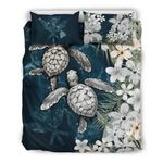 Kanaka Maoli (hawaiian) Bedding Set - Sea Turtle Tropical Hibiscus And Plumeria White A24