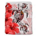 Hawaii Bedding Set - Polynesia Turtle Hibiscus Red A24