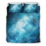 Blue Sky Universe Galaxy Space Print Duvet Cover Bedding Set