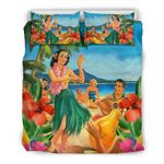 Hawaiian Bedding Set, Aloha Girl Duvet Cover K5