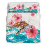 Hawaii Turtle Bedding Set, Honu Hibiscus Duvet Cover And Pillow Case A0