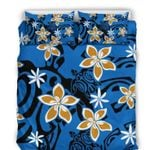 Hawaii Bedding Set, Turtle Plumeria Duvet Cover And Pillow Case A1