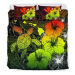 Hawaiian Hibiscus Turtle Polynesian Bedding Set - Maps Style Reggae A10