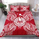 Polynesian Bedding Set - French Polynesia Duvet Cover Set Map Red White - Bn39