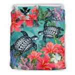 Kanaka Maoli (hawaiian) Bedding Set - Polynesian Turtle Hibiscus And Seaweed A24