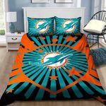 Miami Dolphins Bedding Set Sleepy Halloween And Christmas (Duvet Cover & Pillow Cases)