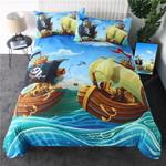 Cartoon Pirate Ship Bedding Set (Duvet Cover & Pillow Cases)
