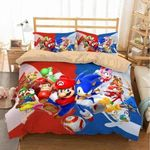 Super Mario And Sonic The Hedgehog Bedding Set (Duvet Cover & Pillow Cases)