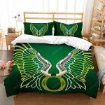 Oregon Ducks Football Team Logo With Iconic Colors Duvet Cover Bedding Set